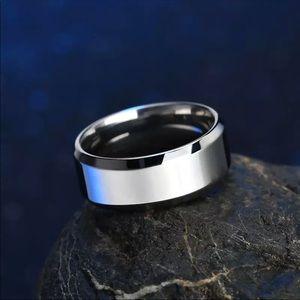 Men's Titanium, Silver Wedding Ring/Band